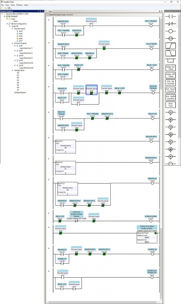 SoapBox Snap Ladder logic's for my cinema screen automation.