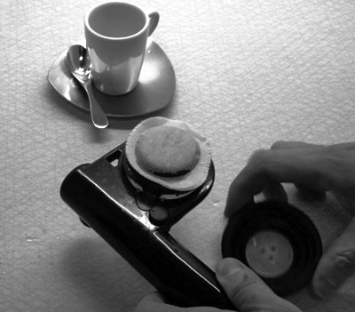 Load the handpresso with a coffee pod