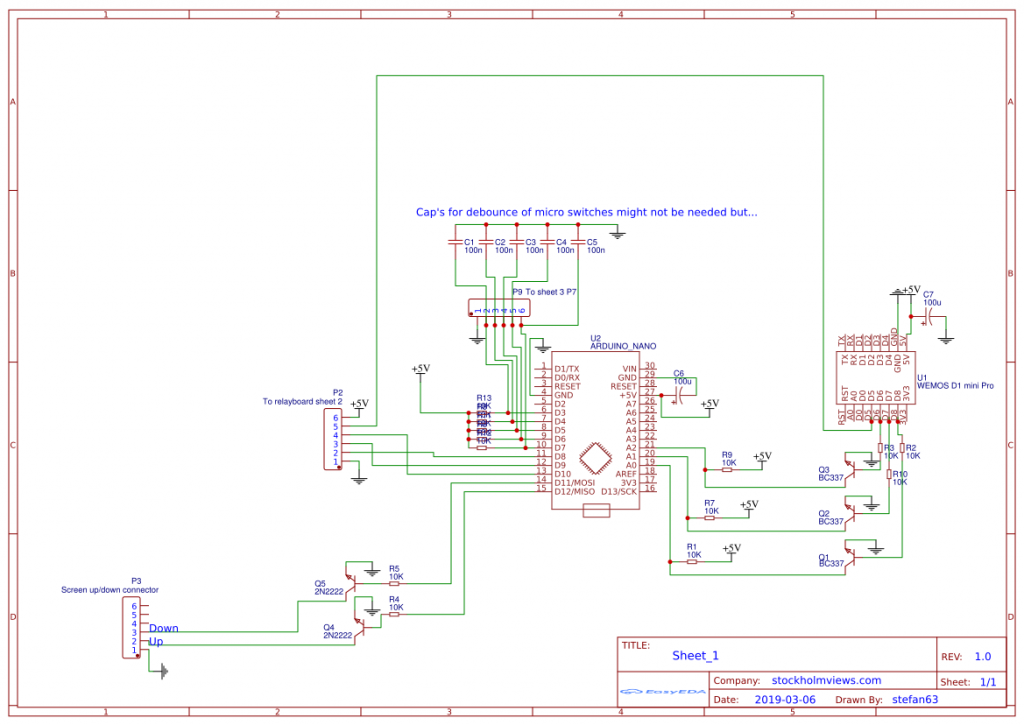 Schematics for the Movie screen controller and remote control circuit. stockholmviews.com